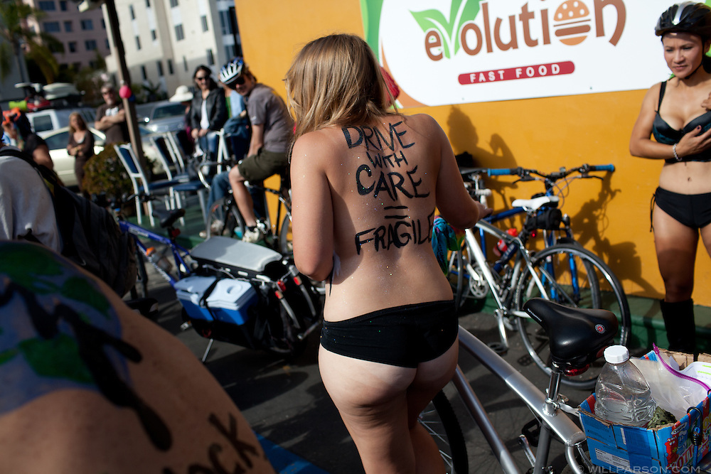 Sara Bush, organizer of the San Diego World Naked Bicycle Ride.