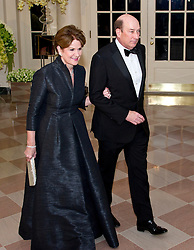 Marillyn Hewson, Chairman, President, & Chief Executive Officer, Lockheed Martin and James Hewson arrive for the State Dinner in honor of Prime Minister Trudeau and Mrs. Sophie Grégoire Trudeau of Canada at the White House in Washington, DC on Thursday, March 10, 2016. EXPA Pictures © 2016, PhotoCredit: EXPA/ Photoshot/ Ron Sachs<br /> <br /> *****ATTENTION - for AUT, SLO, CRO, SRB, BIH, MAZ, SUI only*****