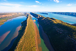 Aerial view over the Horizontal Waterfalls and McLarty Range in Talbot Bay.