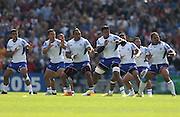 Samoan Haka (war dance) before the Rugby World Cup 2015 match between Samoa and USA at the Brighton Community Stadium, Falmer, United Kingdom on 20 September 2015.