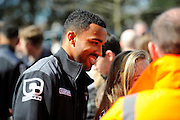 AFC Bournemouth forward Callum Wilson on arrival for the Barclays Premier League match between Bournemouth and Liverpool at the Goldsands Stadium, Bournemouth, England on 17 April 2016. Photo by Graham Hunt.
