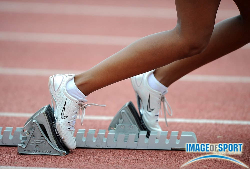 May 24, 2008; Walnut, CA, USA; Drew Houston of Adams State takes her mark in the starting blocks before the women's 4 x 100m relay in the NCAA Division II Track & Field Championships at Mt. San Antonio College's Hilmer Lodge Stadium.