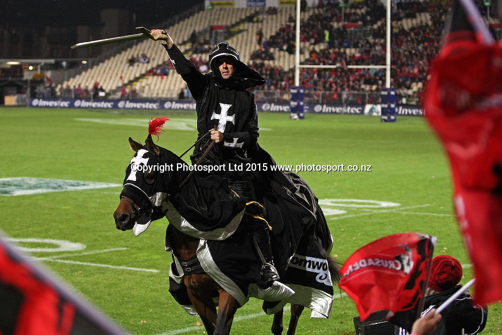 Crusader horsemen before the Investec Super Rugby game between the Crusaders v Chiefs at AMI Stadium i Christchurch. 17 April 2015 Photo: Joseph Johnson/www.photosport.co.nz