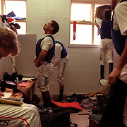 Jockeys in the Jockey room between races at Cessnock races in New South Wales, Australia