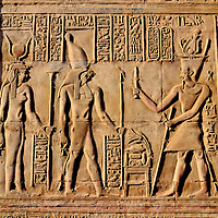 Ptolemaic Relief of Horus and Ta-Sent-Nefer in Kom Ombo Temple in Kom Ombo, Egypt<br />