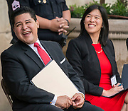 Houston ISD Superintendent Richard Carranza and Trustee Anne Sung listen to comments during a groundbreaking ceremony at Lamar High School, March 30, 2017.