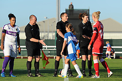 Players and mascots shake hands with match officials - Mandatory by-line: Paul Knight/JMP - Mobile: 07966 386802 - 27/08/2015 -  FOOTBALL - Stoke Gifford Stadium - Bristol, England -  Bristol Academy Women v Oxford United Women - FA WSL Continental Tyres Cup