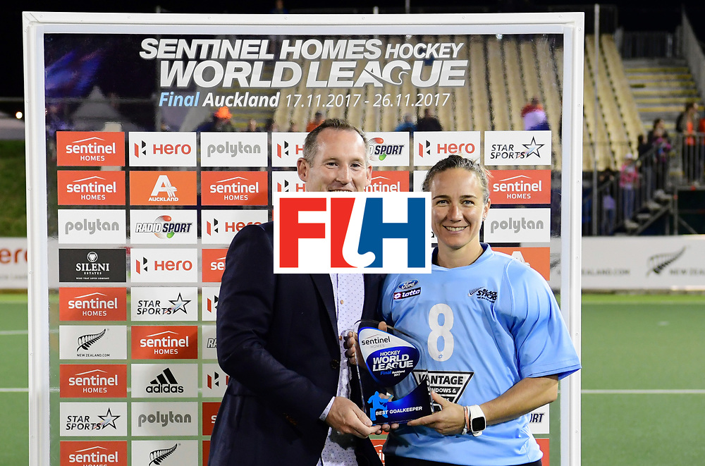 AUCKLAND - Sentinel Hockey World League final women<br /> Match id:10322<br /> Ceremonie<br /> Foto: Best Goalkeeper Sally Rutherford (Gk) <br /> <br /> WORLDSPORTPICS COPYRIGHT FRANK UIJLENBROEK
