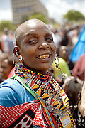 Maasai woman portrait, during the opening march of the VII World Social Forum, at the Uhuru's Park.<br /> Nairobi city, Kenya.