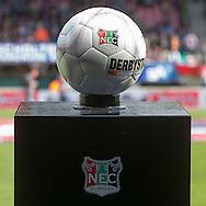 NIJMEGEN, NEC - Feyenoord, voetbal Eredivisie, seizoen 2013-2014, 15-09-2013, Stadion de Goffert, Derbystar bal met NEC logo.