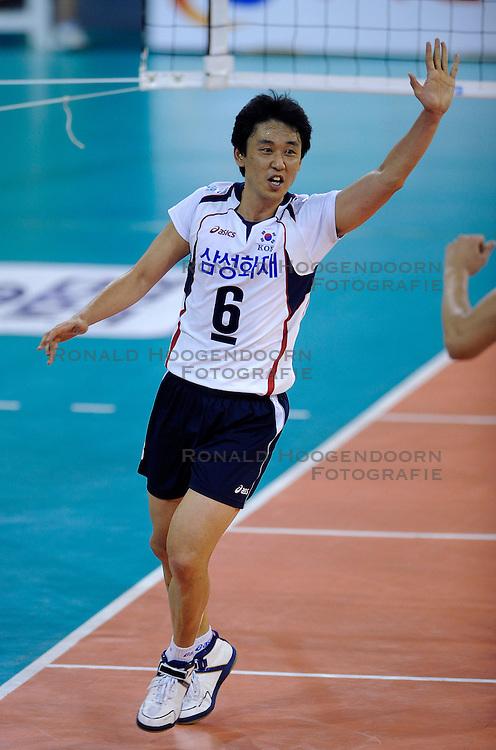 09-07-2010 VOLLEYBAL: WLV NEDERLAND - ZUID KOREA: EINDHOVEN<br /> Nederland verslaat Zuid Korea met 3-1 / Tae Woong Choi<br /> &copy;2010-WWW.FOTOHOOGENDOORN.NL