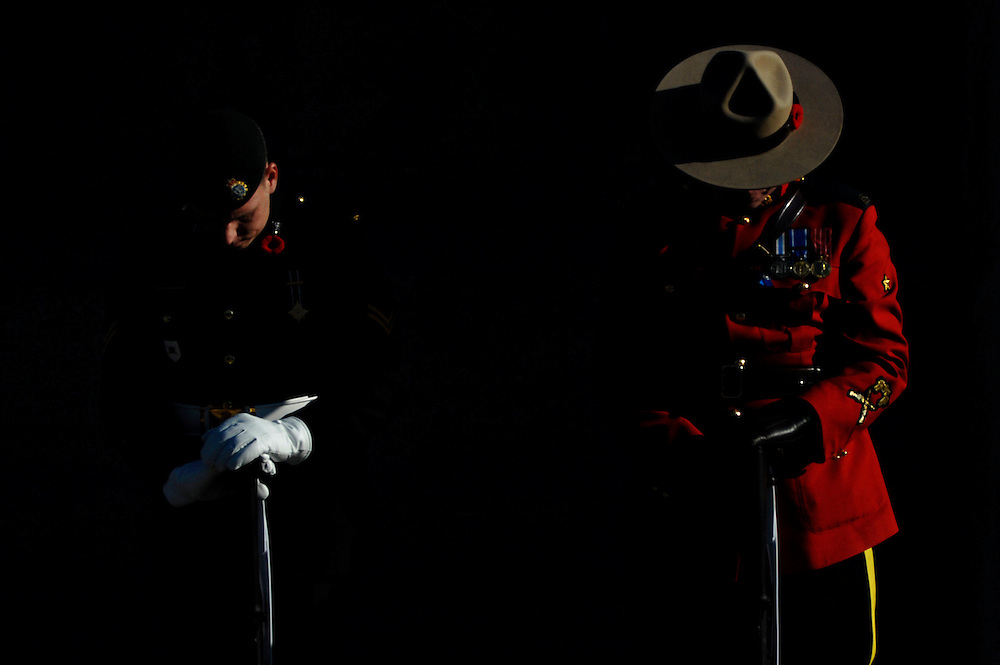 Honour Guards hold their positions at the National War Memorial in Ottawa, Ontario prior to the 2007 Remembrance Day ceremony.