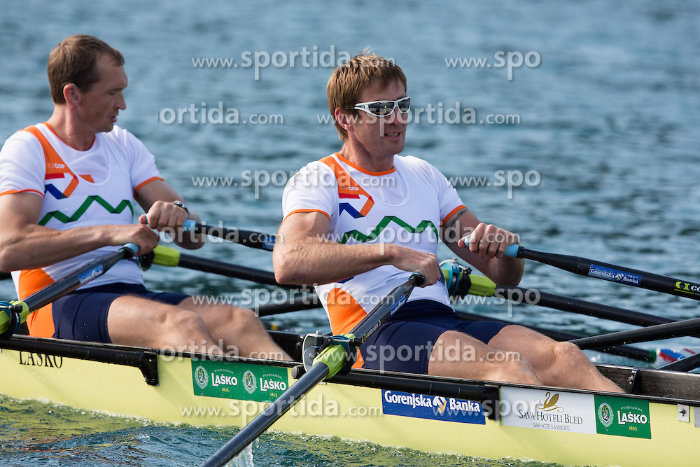 Iztok Cop (stroke) and Jüri Jaanson during rowing at Slovenian National Championship and farewell of Iztok Cop, on September 22, 2012 at Lake Bled, Ljubljana Slovenia. (Photo By Matic Klansek Velej / Sportida)