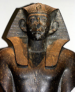 Black granite statue of King Sesostris III, 12th Dynasty (approx. 1850 BC). One of three taken from Deir el-Bahri.