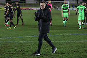 Forest Green Rovers manager, Mark Cooper applauds the fans at the end of the match during the EFL Sky Bet League 2 match between Forest Green Rovers and Mansfield Town at the New Lawn, Forest Green, United Kingdom on 29 January 2019.