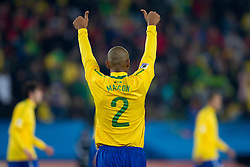 Maicon of Brazil celebrates after third goal during the 2010 FIFA World Cup South Africa Round of Sixteen match between Brazil and Chile at Ellis Park Stadium on June 28, 2010 in Johannesburg, South Africa.  (Photo by Vid Ponikvar / Sportida)