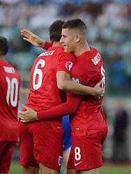 Ross Barkley of England (Everton) celebrates his goal with Phil Jagielka of England (Everton)  - Mandatory byline: Joe Meredith/JMP - 07966386802 - 05/09/2015 - FOOTBALL- INTERNATIONAL - San Marino Stadium - Serravalle - San Marino v England - UEFA EURO Qualifers Group Stage