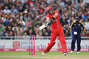 Lancashires Liam Livingstone (Capt) on his way to his 50 during the Vitality T20 Blast North Group match between Lancashire County Cricket Club and Yorkshire County Cricket Club at the Emirates, Old Trafford, Manchester, United Kingdom on 20 July 2018. Picture by George Franks.