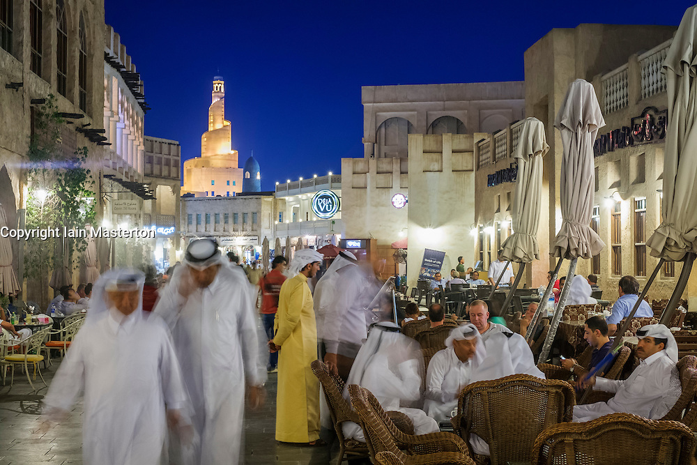 Night view of busy Souk Waqif market in Doha Qatar