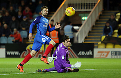 Gwion Edwards of Peterborough United watches his shot beat Luke McGee of Portsmouth but hit the crossbar - Mandatory by-line: Joe Dent/JMP - 21/11/2017 - FOOTBALL - ABAX Stadium - Peterborough, England - Peterborough United v Portsmouth - Sky Bet League One