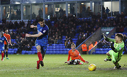 Andrew Hughes of Peterborough United scores a late goal past Mark Oxley of Southend United but his effort is ruled out for offside - Mandatory by-line: Joe Dent/JMP - 03/02/2018 - FOOTBALL - ABAX Stadium - Peterborough, England - Peterborough United v Southend United - Sky Bet League One