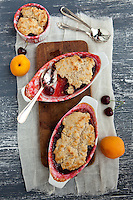 Home made cherry and apricot cobbler