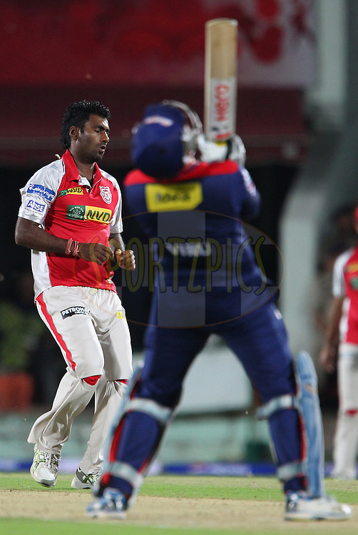 Parvinder Awana reacts after bowling during match 67 of the Pepsi Indian Premier League between The Kings XI Punjab and the Delhi Daredevils held at the HPCA Stadium in Dharamsala, Himachal Pradesh, India on the on the 16th May 2013..Photo by Ron Gaunt-IPL-SPORTZPICS ..Use of this image is subject to the terms and conditions as outlined by the BCCI. These terms can be found by following this link:..http://www.sportzpics.co.za/image/I0000SoRagM2cIEc