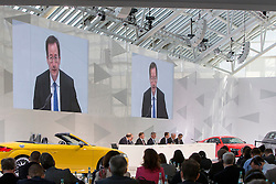 10.03.2015, Audi Forum, Ingolstadt, GER, AUDI AG Jahrespressekonferenz, im Bild Axel Strotbek, Vorstand Finanz und Organisation // during AUDI AG Annual Press Conference at the Audi Forum in Ingolstadt, Germany on 2015/03/10. EXPA Pictures © 2015, PhotoCredit: EXPA/ Eibner-Pressefoto/ Strisch<br /> <br /> *****ATTENTION - OUT of GER*****