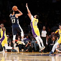 02 October 2017: Denver Nuggets guard Jamal Murray (27) takes a jump shot over Los Angeles Lakers guard Tyler Ennis (10) during the Denver Nuggets 113-107 victory over the LA Lakers, at the Staples Center, Los Angeles, California, USA.