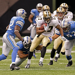 2009 September 13: New Orleans Saints wide receiver Robert Meachem (17) runs a kickoff back against the Detroit Lions during a 45-27 win by the New Orleans Saints over the Detroit Lions at the Louisiana Superdome in New Orleans, Louisiana.
