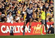 23/03/2013 SPORT: AFL- Fremantle Dockers v West Coast Eagles, Patersons Stadium, Perth. PICTURED- Fremantle's Danyle Pearce celebrates a great second quarter goal.