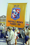 Nalgo Sheffield Branch banner at the start of a march against anti trade union legislation. Sheffield 1980.