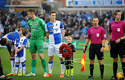 Bristol Rovers captain Tom Lockyer with the mascot and wreath carrier - Mandatory by-line: Neil Brookman/JMP - 18/11/2017 - FOOTBALL - Memorial Stadium - Bristol, England - Bristol Rovers v AFC Wimbledon - Sky Bet League One