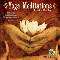 Yoga Meditations calendar by Elena Ray published by Amber Lotus featuring quotes by yoga luminaries.