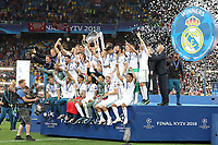 KIEV, UKRAINE - MAY 26: Sergio Ramos of Real Madrid lifts winners cup during the UEFA Champions League final between Real Madrid and Liverpool at NSC Olimpiyskiy Stadium on May 26, 2018 in Kiev, Ukraine. (MB Media)