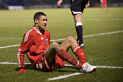 BRISTOL, ENGLAND - Thursday, January 15, 2009: Liverpool's Thomas Ince goes down injured against Bristol Rovers during the FA Youth Cup match at the Memorial Stadium. (Mandatory credit: David Rawcliffe/Propaganda)