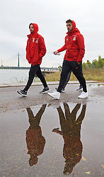 VIENNA, AUSTRIA - Thursday, October 6, 2016: Wales' Joe Allen and Neil Taylor during a pre-match walk at the Hilton Danube Waterfront Hotel ahead of the 2018 FIFA World Cup Qualifying Group D match against Austria. (Pic by David Rawcliffe/Propaganda)