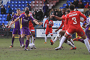 Dan Holman scores and celebrates his goal during the Vanarama National League match between Welling United and Cheltenham Town at Park View Road, Welling, United Kingdom on 5 March 2016. Photo by Antony Thompson.