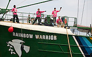 The Greenpeace boat Rainbow Warrior docked in Keelung Harbour, Taiwan to start a month long visit to Taiwan. The boat will be retired from service in mid-2011.