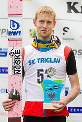 Second placed Evgeniy Klimov from Russia during flower ceremony after Ski Jumping Continental Cup Kranj 2018, on July 8, 2018 in Kranj, Slovenia. Photo by Urban Urbanc / Sportida