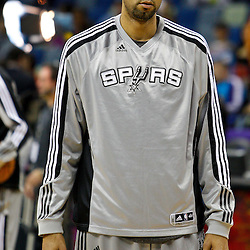 January 22, 2011; New Orleans, LA, USA; San Antonio Spurs center Tim Duncan (21) during warm ups prior to tip off against the New Orleans Hornets at the New Orleans Arena.   Mandatory Credit: Derick E. Hingle
