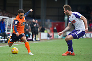 Scunthorpe United midfielder Duane Holmes (19) during the EFL Sky Bet League 1 match between Scunthorpe United and Rotherham United at Glanford Park, Scunthorpe, England on 10 February 2018. Picture by Craig Zadoroznyj.