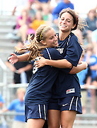 May 12, 2012; Huntsville, AL, USA;  Oak Mountain's Vicki Hill (5) hugs Oak Mountain's Julianne Jackson (12) after Hill scored the only goal against Auburn. Mandatory Credit: Marvin Gentry