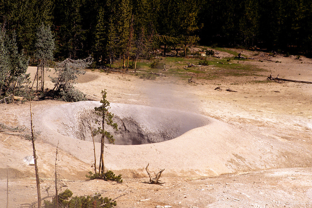 North America, USA, United States, Wyoming, Yellowstone National Park. A simmering fumerole.