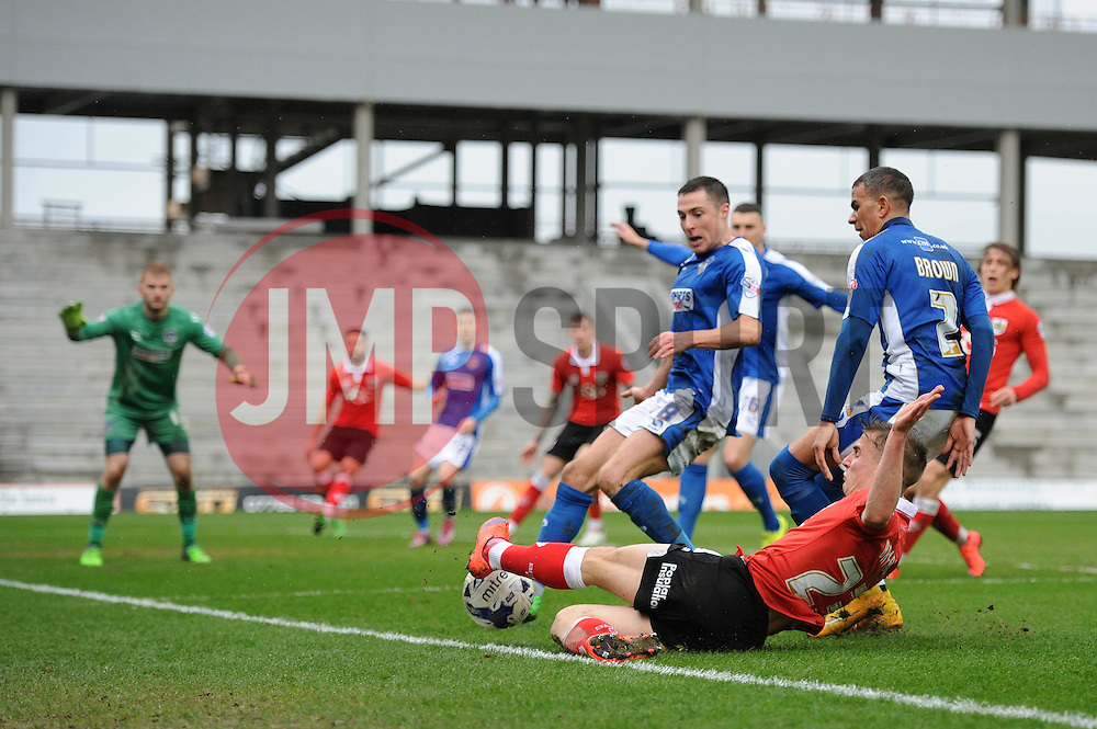 Bristol City's Joe Bryan attempts to keep the ball in play - Photo mandatory by-line: Dougie Allward/JMP - Mobile: 07966 386802 - 03/04/2015 - SPORT - Football - Oldham - Boundary Park - Bristol City v Oldham Athletic - Sky Bet League One
