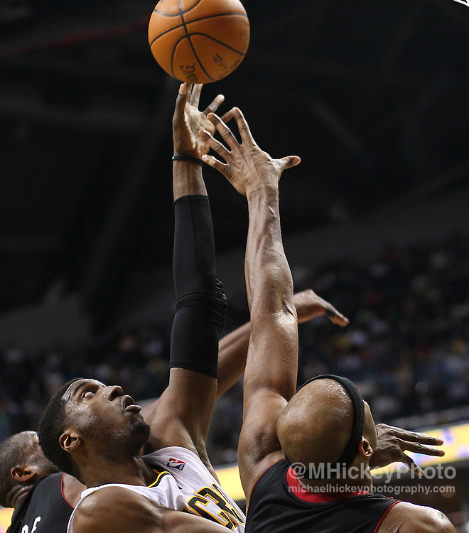 Feb. 15, 2011; Indianapolis, IN, USA; Indiana Pacers center Roy Hibbert (55) shoots the ball against the Miami Heat at Conseco Fieldhouse. Miami defeated Indiana 110-103. Mandatory credit: Michael Hickey-US PRESSWIRE