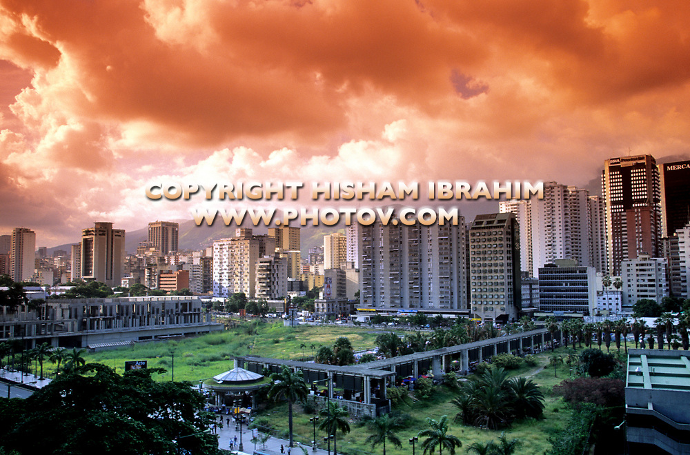 Caracas Downtown District and Skyline with dramatic sky, Caracas, Venezuela