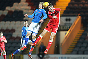 Steven Humphreys and Elliott Ward during the EFL Sky Bet League 1 match between Rochdale and Milton Keynes Dons at Spotland, Rochdale, England on 21 February 2018. Picture by Daniel Youngs.