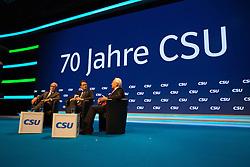 """20.11.2015, Messe Muenchen, Muenchen, GER, CSU Parteitag 2015, Festakt """"70 Jahre CSU"""", im Bild Andreas Scheuer (CSU Generalsekretaer) im Gespraech mit den CSU-Ehrenvorsitzenden Dr. Theo Waigel (li.) und Dr. Edmund Stoiber) // during ceremony """"70 years CSU"""" of CSU party convention in 2015 at the Messe Muenchen in Muenchen, Germany on 2015/11/20. EXPA Pictures © 2015, PhotoCredit: EXPA/ Eibner-Pressefoto/ Krieger<br /> <br /> *****ATTENTION - OUT of GER*****"""