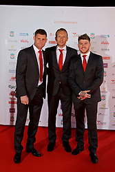 LIVERPOOL, ENGLAND - Tuesday, May 9, 2017: Liverpool's James Milner, Lucas Leiva and Alberto Moreno arrive on the red carpet for the Liverpool FC Players' Awards 2017 at Anfield. (Pic by David Rawcliffe/Propaganda)